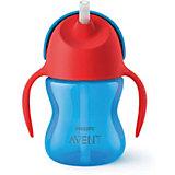 Чашка-поильник с трубочкой Philips Avent, 200 мл, синий/красный