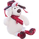 Собака в ушанке с шарфом, 18см
