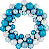 Новогодний венок из шариков Magic Land, 33 см (голубой)