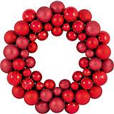 Новогодний венок из шариков Magic Land, 33 см (красный)