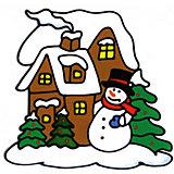 """Наклейка на окно Winter Wings """"Снеговик у домика"""" 25х25 см, ПВХ"""