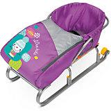 Сиденье для санок с чехлом для ног Nika-Kids, (снеговик, фиолетовый)