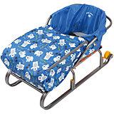 Сиденье для санок с чехлом для ног Nika-Kids, (мишки, синий)