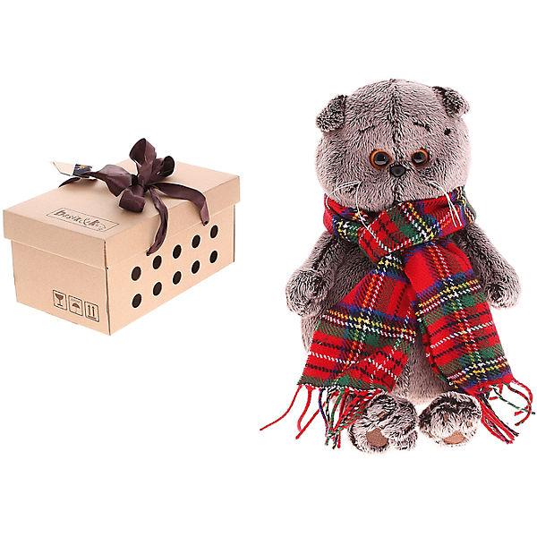 Мягкая игрушка Budi Basa Кот Басик и красный шарф в клеточку, 19 см