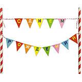 BA Украшение для стола/торта Флажки С днем рождения