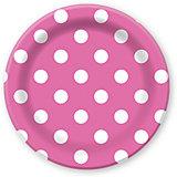 F 23см Тарелки бумажные ламинированные Горошек Розовый 6шт