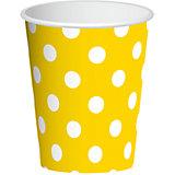 "Бумажные стаканы Патибум ""Желтый горошек"", 6 шт 250 мл"
