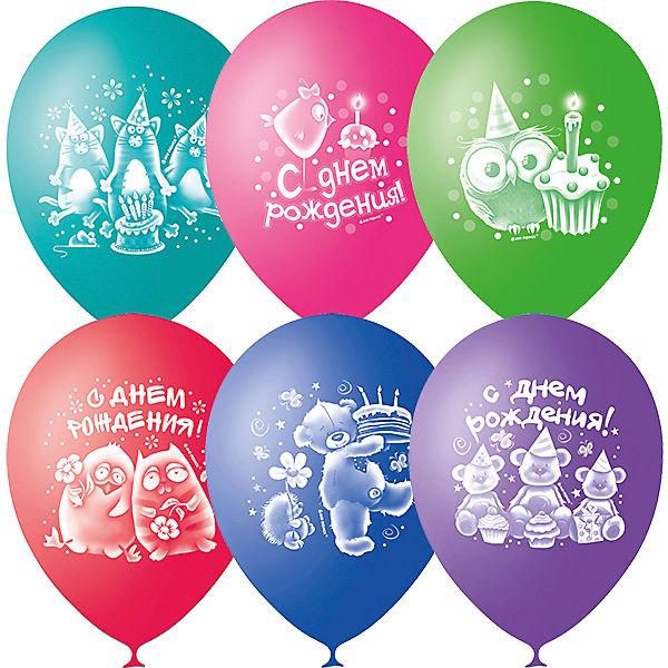 """Воздушные шары Latex Occidental """"С днём рождения. Зверушки-игрушки"""" 50 шт., пастель + декоратор"""