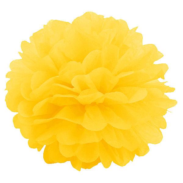 Q Помпон бумажный 20см ярко-желтый