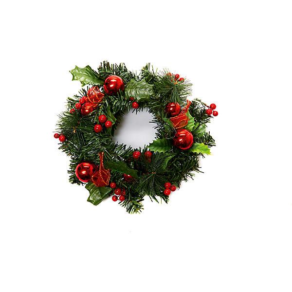 Новогоднее украшение - венок на стену, диаметр 25 см, в полибеге