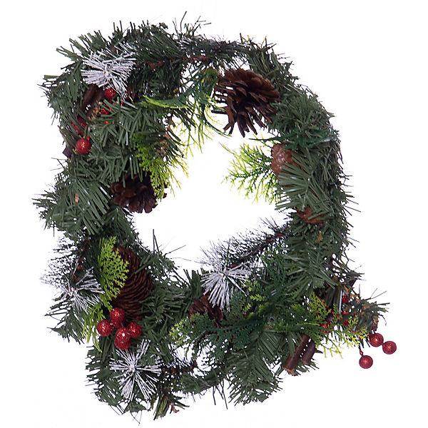 Новогоднее украшение - венок на стену, диаметр 30 см, в полибеге