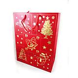 Новогодний сувенир - сумочка, из бумаги, 26*33*13,6 см, 10 штук в полибеге