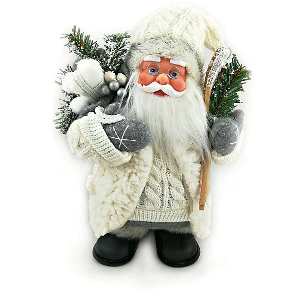 Дед мороз белый с лыжами и подарками, интерактивный музыкальный идущий 25 см, коробка с окошком