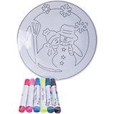 Детский набор для творчества- Тарелочка, 6 фломастеров, 20.8*3.5*20.8 см