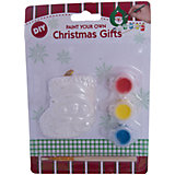 Детский набор для творчества- Снеговик на паровозе, 3 краски, кисточка, 12.8*2.5*17.6 см