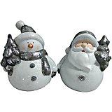 Новогоднее украшение - Дед Мороз/Снеговик с ёлкой, 10 см, 2 в ассортименте