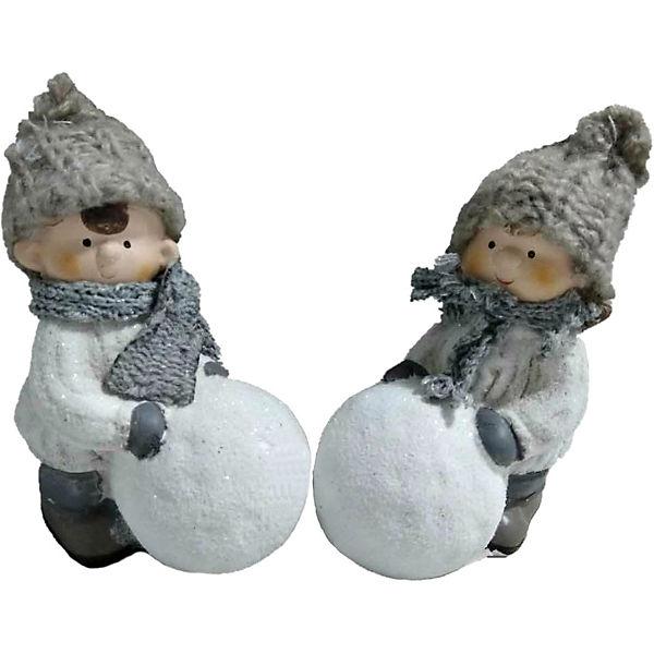 Новогоднее украшение - мальчик/девочка с снежным шаром, 16*10*6 см, 2 в ассортименте