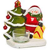 Дед мороз с ёлкой-подсвечник, 10.1 x 6.6 x 11 см, 2 в ассортименте