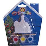 Набор для детского творчества, Домик 6x2.7x7см, 3 краски, кисточка, блистер в форме домика - 14*14 см