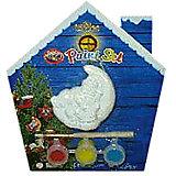 Набор для детского творчества, керамика, месяц - 7*3*7 см, 3 краски, в синей коробке  14*14 см