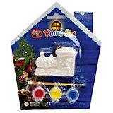 Набор для детского творчества, керамика, паравоз 6,5*4,5*2,3 см, 3 краски, в синей коробке  14*14 см