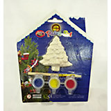 Набор для детского творчества, керамика, ёлка, 3 краски, в синей коробке  15*3,5*18 см
