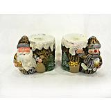 Новогоднее украшение, дед мороз/снеговик-подсвечник со свечей, 8,2*5,8*7,2 см