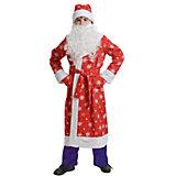 Костюм Дед мороз детский, ткань-плюш, красный р-р М