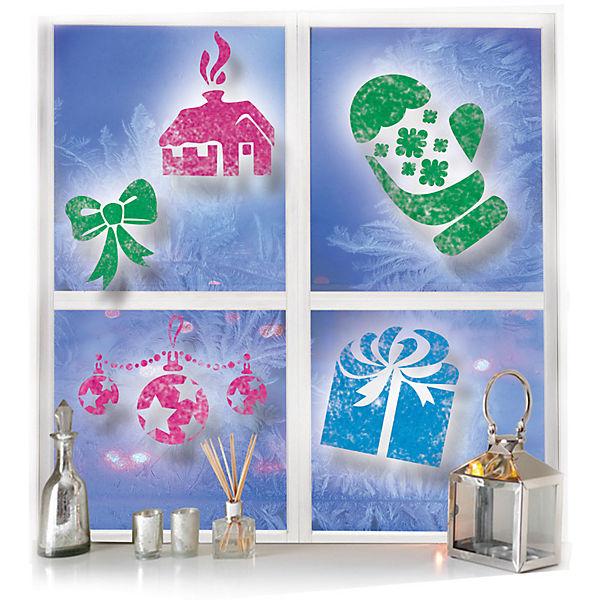 Новогодний набор B&H: цветной спрей для окна + 5 трафаретов