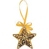 """Объемное украшение на елку B&H """"Звезда с лентой"""" 11 см, золотая"""
