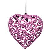 """Объемное украшение на елку B&H """"Сердце"""" 10 см, нежно-розовое"""