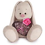Зайка Ми с коричневым сердечком с розочкой (малый)