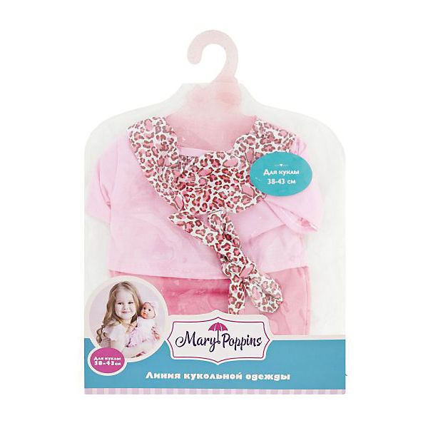 "Одеждя для куклы Mary Poppins ""Комбинезон и повязка"", 38-43 см (розовый леопард)"