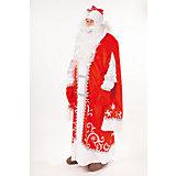 "Карнавальный костюм ""Дед Мороз Премиум"" ( шуба, шапка, парик, борода, мешок, варежки)  размер 182-54-56"