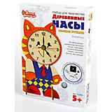 Набор для творчества. Деревянные часы своими руками (с красками). Котенок