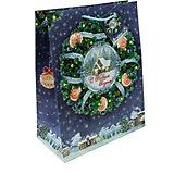 Бумажный пакет Новогодний венок для сувенирной продукции , с ламинацией