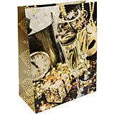 Бумажный пакет Золотые бокалы для сувенирной продукции , с ламинацией