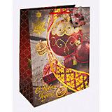 Бумажный пакет Красный новогодний шар для сувенирной продукции, с ламинацией