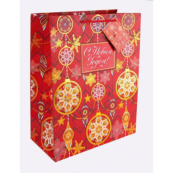 Бумажный пакет Золото на красном для сувенирной продукции, с ламинацией