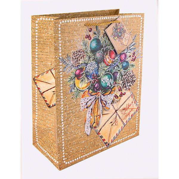 Бумажный пакет Еловый букет для сувенирной продукции, с ламинацией