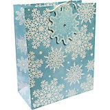 Бумажный пакет Сверкающие снежинки для сувенирной продукции, с ламинацией