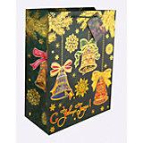 Бумажный пакет Елки с колокольчиками для сувенирной продукции, с ламинацией