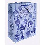 Бумажный пакет Синие новогодние шары для сувенирной продукции, с ламинацией