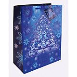 Бумажный пакет Елочка в голубом для сувенирной продукции, с ламинацией