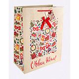 Бумажный пакет Новогодний калейдоскоп для сувенирной продукции, с ламинацией