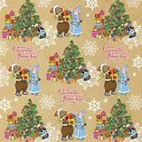 Крафт бумага Снегурочка с мишкой для сувенирной продукции в листах