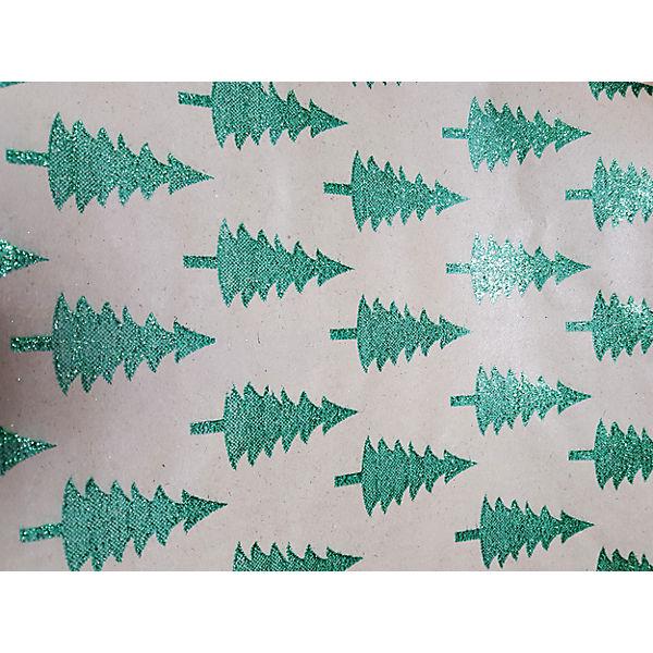 Крафт бумага Зеленые елочки для сувенирной продукции в листах