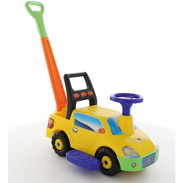 """Машина-каталка с ручкой Полесье """"Пикап"""", желтая"""