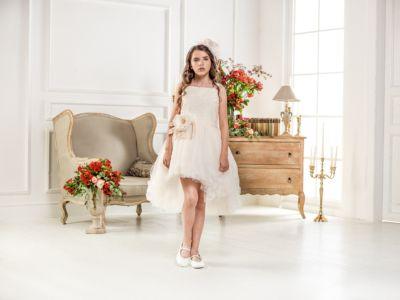 Нарядное платье Les Gamins для девочки - бежевый
