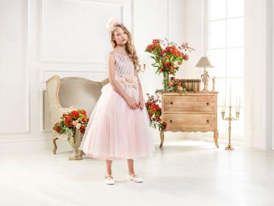 Нарядное платье Les Gamins для девочки - розовый